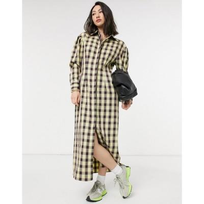 ロストインク マキシドレス レディース Lost Ink full maxi shirt dress in vintage check エイソス ASOS イエロー 黄