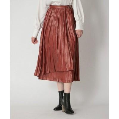 スカート プリーツ ラップ スカート