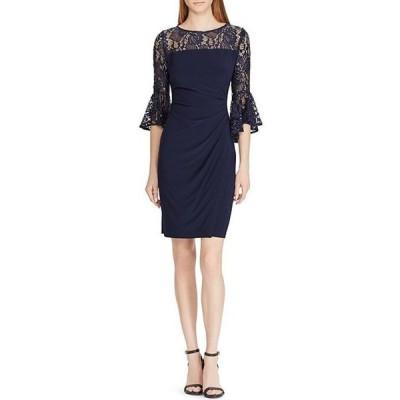 ラルフローレン レディース ワンピース トップス Lace Bell Sleeve Side Ruched Detail Jersey Dress