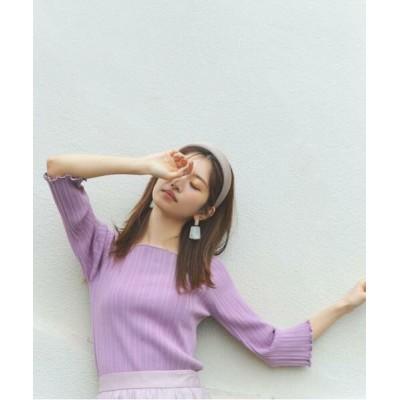 PROPORTION BODY DRESSING/プロポーションボディドレッシング  pelucheバックパールリブニット プラムピンク4 M