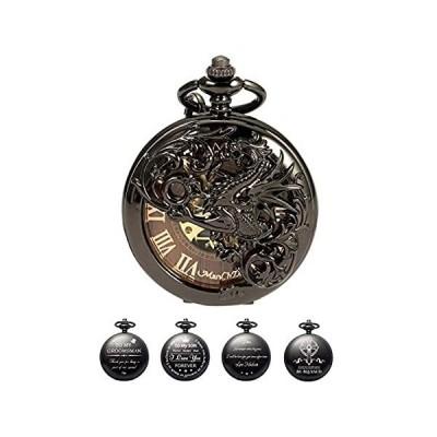 【新品】メンズ スケルトン 機械式懐中時計 - ブラック ドラゴン ホロー ダブルハンター マンチャダ バーリーウッド ダイヤル