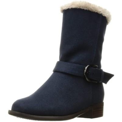 [ヴェリココ] ブーツ ブーティ 【19.5~27.0cm】 晴雨兼用ベルト付きファーブーツ(3cmヒール) ネイビースエード調 20 cm