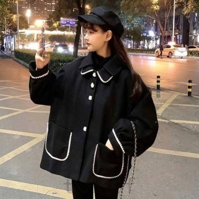 ショート丈コートミディアムコート黒コートアウタージャケットレディース秋冬10代20代30代ショート丈オーバーサイズゆったり黒