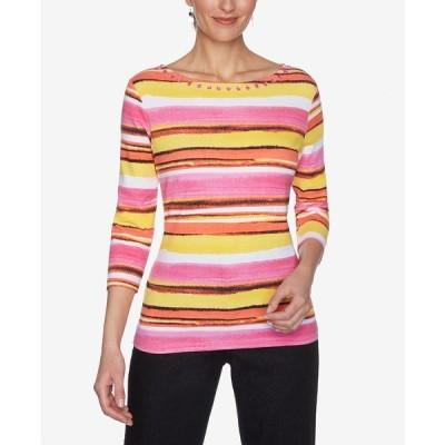 ルビーロード カットソー トップス レディース Women's Misses Knit Painterly Top Hot Pink Multi