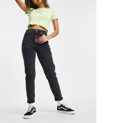 トップショップ レディース デニムパンツ ボトムス Topshop Premium mom jeans in wash black Black 1