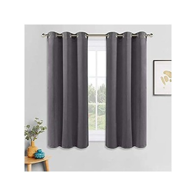 PONY DANCE Grey Blackout Curtains - Thermal Insulated Grommet Curtain Panel