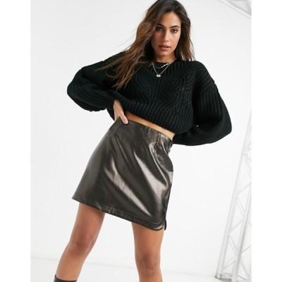 ヴィラ レディース スカート ボトムス Vila aline vinyl skirt in black