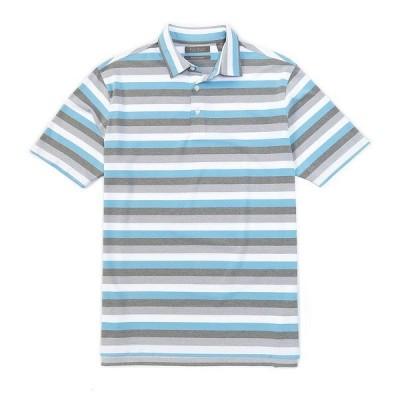 クレミュ メンズ シャツ トップス Performance Stripe Short-Sleeve Polo Shirt Turquoise