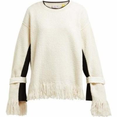 モンクレール 2 MONCLER 1952 レディース ニット・セーター トップス Fringed cotton-blend sweater Cream