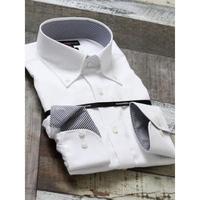 形態安定80双スリムフィットボタンダウン長袖ビジネスドレスシャツ/ワイシャツ