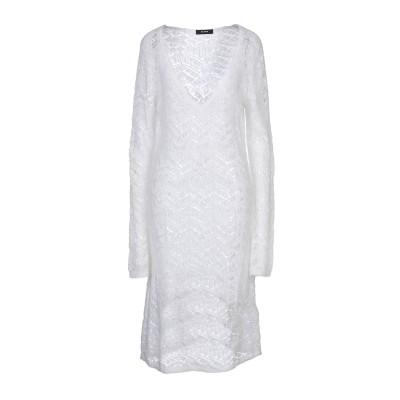 アルファスタジオ ALPHA STUDIO 7分丈ワンピース・ドレス ホワイト 42 モヘヤ 35% / 毛(アルパカ) 35% / ナイロン 30