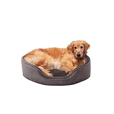 【新品未使用品】Furhaven Pet Dog Bed - Round Oval Cuddler Plush Faux Fur and Velvet Orthope【並行輸入品】
