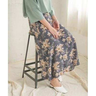 スカート 大花柄セミフレアスカート