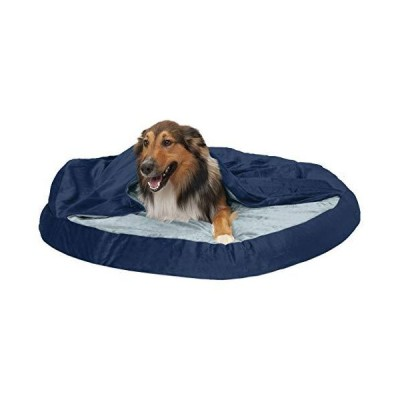 Furhaven Pet Dog Bed - Memory Foam Round Cuddle Nest Micro Velvet Snuggery Blanket Burrow Pet Bed with Removable Cover for Dogs and Cats, Navy, 44-Inc