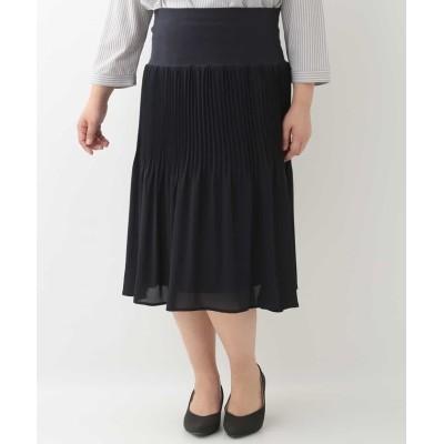 【エウルキューブ】 シフォンプリーツスカート レディース ネイビー 15 eur3( 大きいサイズ)