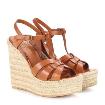 イヴ サンローラン Saint Laurent レディース エスパドリーユ ウェッジソール サンダル・ミュール tribute leather wedge espadrille sandals Ambra