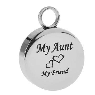 1本 丸型 メモリアルペンダント アロマペンダント ユニセックス  手元供養  小物入れ 全12種類 - 銀 my aunt