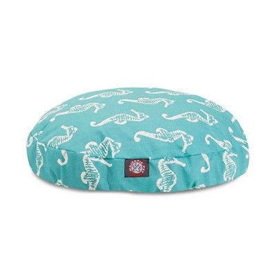 Teal Sea Horse Large Round Indoor Outdoor Pet Dog Bed With Removable Washab