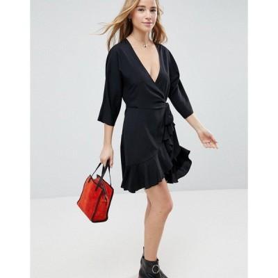 エイソス レディース ワンピース トップス ASOS Wrap Front Mini Frill Dress Black
