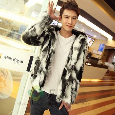 ファーコート メンズ 毛皮コート フォクス ファー付き ショートコート フード付き おしゃれ 上着 暖かい 秋冬 防寒 メンズファッション