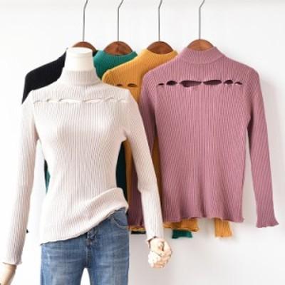 秋冬 ハイネック ラウンドネック やわらか ボトミングセーター シンプル&セクシー