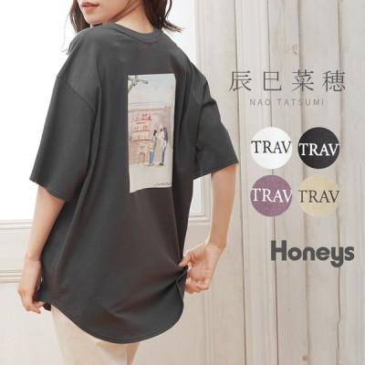 トップス Tシャツ 半袖 イラストプリント ゆったり ロゴ おしゃれ レディース 夏 Honeys ハニーズ イラストプリントTシャツ
