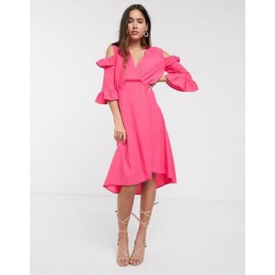 クローゼットロンドン Closet London レディース ワンピース ラップドレス ワンピース・ドレス Closet a-line wrap dress with ruffle sleeves ピンク