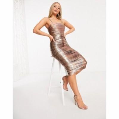 ラーレ Rare レディース ボディコンドレス ワンピース・ドレス London Plunge Bodycon Dress In Bronze Iridescent ブロンズ