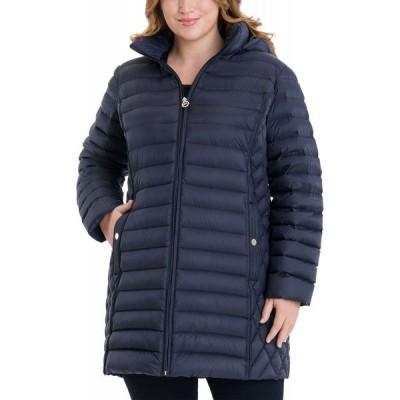 マイケル コース Michael Kors レディース ダウン・中綿ジャケット 大きいサイズ アウター Plus Size Hooded Packable Puffer Coat Dark Navy
