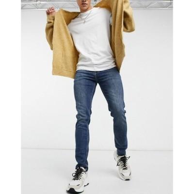 エイソス メンズ デニムパンツ ボトムス ASOS DESIGN skinny jeans in mid greencast wash Dark wash blue