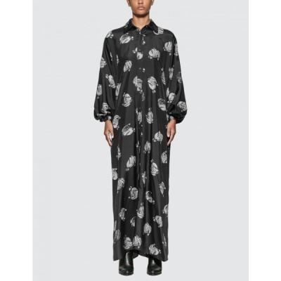 ランバン Lanvin レディース ワンピース ワンピース・ドレス Logo Print Long Dress Black