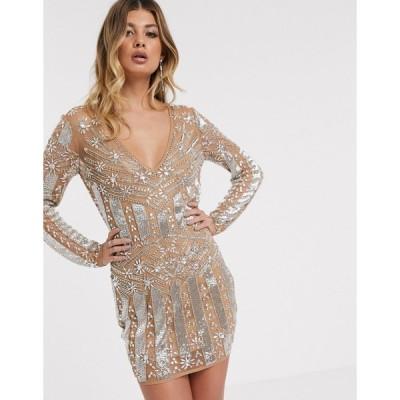 エイソス ミニドレス レディース ASOS DESIGN long sleeve heavily embellished mini dress エイソス ASOS シルバー 銀