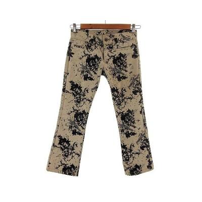 【中古】ダブルスタンダードクロージング ダブスタ DOUBLE STANDARD CLOTHING ジーンズ 日本製  総柄 ベージュ グレー インディゴ 36 【ベクトル 古着】