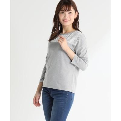(Honeys/ハニーズ)レース切替Tシャツ/レディース 杢グレー