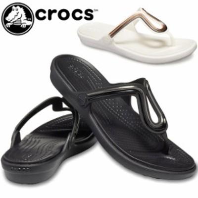 送料無料 レディース トングサンダル クロックス crocs 205470 サンラ メタルブロック フラット フリップ ローヒール