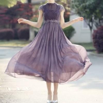 シースルーロングドレス ワンピース 透け感 シフォン レース ドレス 袖あり 結婚式 フォーマル ゲスト パーティー 二次会 fs0012
