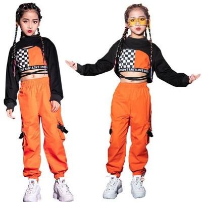 ヒップホップ キッズ ダンス 衣装 女の子 派手 セットアップ ガールズ チアガール チェック柄 トップス パンツ ベスト ヘソ出し