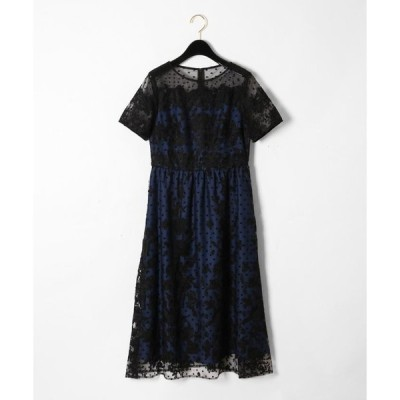 【グレースコンチネンタル】ドットフロッキー刺繍ワンピース