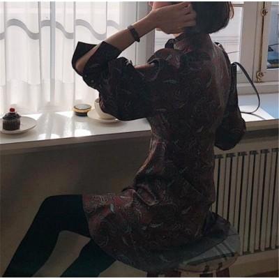 ✨超人気インスタグラムで話題 2019 秋季 新品 韓国ファッション 気質 おしゃれな オシャレ 長袖 早い者勝ち レトロ はながら エレガント フリル ワンビース