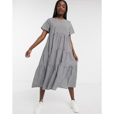 ミスガイデッド レディース ワンピース トップス Missguided poplin tiered midi smock dress in gingham