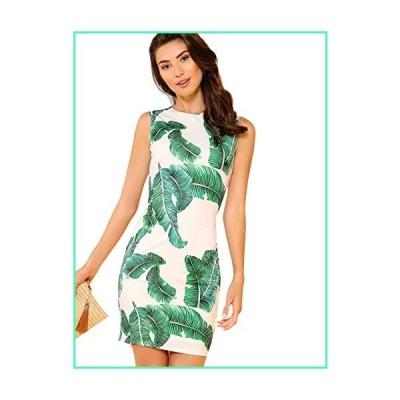 Floerns Women's Sleeveless Tropical Palm Leaf Bodycon Cocktail Dress 2-Green L並行輸入品