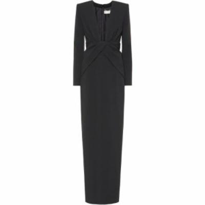 イヴ サンローラン Saint Laurent レディース パーティードレス ワンピース・ドレス Long-sleeved crepe gown Noir