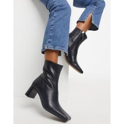 エイソス レディース ブーツ&レインブーツ シューズ ASOS DESIGN Rain premium square toe leather boots in black Black