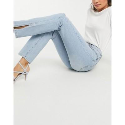 ミスガイデッド レディース デニムパンツ ボトムス Missguided high-waisted straight jean with side slit in blue