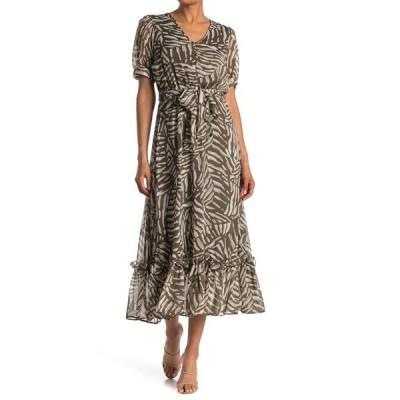 カルバンクライン レディース ワンピース トップス Tropical Print Chiffon Maxi Dress CAPER MULT