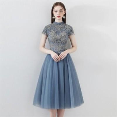 パーティードレス パーティドレス ドレス 結婚式 ワンピース 半袖 ミディアムドレス 二次会 お呼ばれ ウエディングドレス 発表会 お呼ば