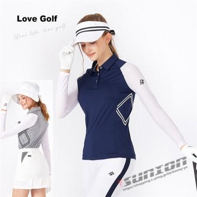 ゴルフ 長袖ポロシャツ ゴルフウェア シャツ レディース ポロシャツ UVカット 吸汗速乾 ストレッチ 春夏新作モデル