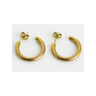 新潟 燕三条 純チタンピアス 両耳 Gリング3×20 ゴールド  金属アレルギーの方も安心