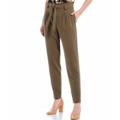 カルバンクライン レディース カジュアルパンツ ボトムス Lux Stretch Suiting Tie-Waist Sash Belt Slim Leg Pants Caper
