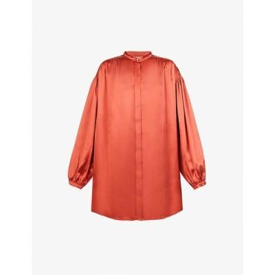 ルカシャ LE KASHA レディース ブラウス・シャツ トップス Nara ruched silk shirt Orange